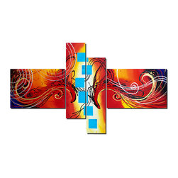 "Fabuart - ""Don't be a Square"" - Multi-Color Abstract Painting- 64 x34 - This beautiful Art is 100% hand-painted on canvas by one of our professional artists. Our experienced artists start with a blank canvas and paint each and every brushstroke by hand."