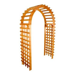 Standard 6.75-ft. Cedar Arch Arbor - The Standard 6.75-ft. Cedar Arch Arbor's distinctive yet eye catching design offers a subtle accent for your yard or garden. Plants and flowers will grow easily on the lattice side panels for a colorful accent. This garden arbor is made from 1 x 4 Western Red Cedar wood, which is naturally resistant to insects and decay. Cedar is light weight and dimensionally stable, so your arbor will not lose strength over time due to weather exposure. Red cedar will eventually turn to a weathered grey color if left untreated. If you prefer, you can treat the cedar with a water sealer or stain to maintain its original color. This arbor comes ready to assemble, including detailed instructions and zinc-plated hardware. The top and side rail holes are pre-drilled. The side and top slats must be nailed (included) with hammer or nail gun. Available in two widths.Arbors do not include anchor kits. Depending on soil conditions, arbors can be secured with concrete or anchored with pressure treated stakes buried into the ground. We currently do not carry corresponding anchor kits.Standard Arbor 3 Ft.- External: 42W X 24D X 82H inches- Internal Width: 36 inchesStandard Arbor 4 Ft.- External: 56W X 24D X 82H inches- Internal Width: 48 inchesPlease note this product does not ship to Pennsylvania.