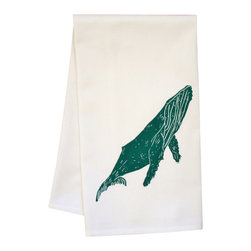 "artgoodies - Organic Block Print Whale Tea Towel - This high quality 100% certified organic cotton tea towel was custom made just for artgoodies! Hand printed with one of my original linocut block print images it measures 20""x28"" and comes wrapped in a green ribbon made from 100% recycled plastic bottles! Nice and absorbent for drying dishes, looks great when company is over, and makes a great housewarming gift!"