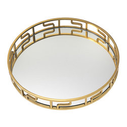 Gluckstein Home 10th Anniversary Greek Key Serving Tray - This Greek key mirror serving tray by Gluckstein Home is as classic as it is versatile. The brass metal finish coupled with clean-lined geometric details adds a touch of elegance and glamour to your coffee table and dining room. For a stylish bar nook, group a couple of crystal decanters and scotch glasses on it, then place the whole arrangement on a vintage brass bar trolley.