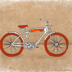 Artollo - Kids Wall Art Bike A4 - 8.3x11.7 - Gallery quality paper print from hand drawn original, frame not included