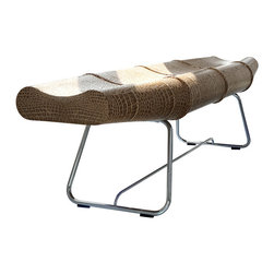 Modloft - Carey Bench, Whisky Crocco - Carey bench features carbon steel frame with crocco leather or synthetic hair seating. Measures 72 x 19 x 18. Available in multiple colors. Made in Brazil. Imported.