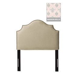 Home Decorators Collection - Custom Dudley Upholstered Headboard - Gleaming nailhead trim enhances the sweeping, scalloped profile of our Custom Dudley Upholstered Headboard. Easily integrate this upholstered headboard into your existing kids decor by picking your favorite fabric. Solid pine frame with metal legs and polyester fill. Includes nailheads in brass or pewter finish. Easily attaches to any standard bed frame with included hardware. Spot clean only. Hand assembled in the USA and delivered in 2-4 weeks.