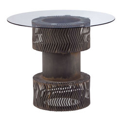 Zuo Accents - Rock n Roll Dining Table Rusted Metal Frame - This Rock n Roll Dining Table comes in fresh design and fresh style, with nice shape with rusted metal frame texture to bring new levels of affordability.