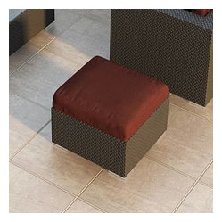 Urbana Modern Wicker Ottoman, Henna Cushion