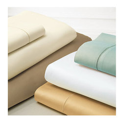 """Frontgate - Giotto Sateen Fitted Sheet - 100% Italian-spun, Egyptian Cotton Sateen. Woven using extremely fine, multi-ply yarns in both the warp and the weft. Generously sized to accommodate pillow-top mattresses up to 17"""" deep. Machine wash cold using non-chlorine bleach as needed; wash dark colors separately;. Tumble dry on low setting. Enjoy sleeping on sheeting of the finest quality with the SFERRA Giotta Sateen Bedding. Crafted in Italy, Giotto is a classic sateen with a luminous sheen, rich drape, and silken hand. Sumptuous 610 thread-count sheeting is finished with tailored border of hand-drawn hemstitching.  .  .  .  .  . For best results, iron on """"cotton' setting on reverse side of fabric to restore luster and sheen . Made in Italy by SFERRA. Part of the SFERRA Giotta Sateen Bedding Collection."""