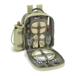 Picnic at Ascot - Hamptons Picnic Backpack for Two - Features: