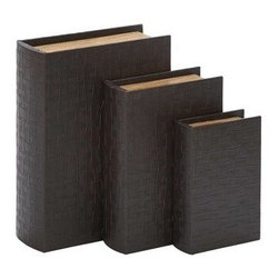 "BZBZ54120 - Library Storage Books - Wood Leather Box Set of 3 13"", 11"", 8""H - Library Storage Books - Wood Leather Box Set of 3 13"", 11"", 8""H. Some assembly may be required. Set of 3 13, 11, 8 H wooden Box leather Lining"