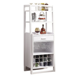 Monarch - White 60in.H Ladder Style Bar Unit - This stylish and contemporary ladder bar unit encompasses a design that is ideal for entertaining your guests. It features a drawer, a place to hang glasses, shelf space ideal for making cocktails, and a wine rack that can store up to 15 bottles. This white finished, solid-wood unit is practical, elegant and a must-have in every home!