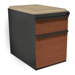 Mobile Pedestal with Flax Fabric Seat and Laminate Front File Drawer / Storage D - The Mobile Pedestal with Flax Fabric Seat and Laminate Front File Drawer / Storage Drawer - 23 in. is a practical and whimsical office storage piece. The pedestal has two lockable drawers and a steel body that comes in multiple colors, while its padded top makes it fun footrest.