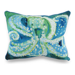 Betsy Drake - Betsy Drake Colorful Octopus Indoor/Outdoor Throw Pillow 16 In. x 20 In. - Add a pop of aquatic charm with this throw pillow to accent your home inside or out in tropical style with original artwork designed by artist Betsy Drake, a peppy blue and green octopus comes to life in water-color style on this artistic pillow that's perfect for your living room sofa or the Adirondack chair on the patio and has a complementing blue backing and piping around the edges. The 100% polyester cover is water repellent and it's filled with 100% polyester fiber. Measuring 20 inches long by 16 inches wide (51 cm by 41 cm), it would look amazing by a pool area, in the guest room or just tossed on the bed, and is made with pride in the U.S.A. It is recommended to spot clean only. This bright and cheerful throw pillow would make an excellent housewarming gift perfect for any tropical decor fans