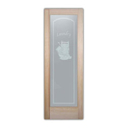 Sans Soucie Art Glass - Thru the Wringer Interior Glass Doors - Laundry Room Door with Sandblast Etched Glass - Thru the Wringer Interior Glass Doors - Quality, hand-crafted sandblast etched glass.