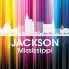 Jackson Vertical Lined Rainbow Print - Burned to the ground during the Civil War, this vibrant Mississippi city now known as the City with Soul is birthplace to football legend Brett Favre and country music star Faith Hill. Show off a little city pride with the digital and photographic layers on this mixed-media art that shines bright in a rainbow of color.