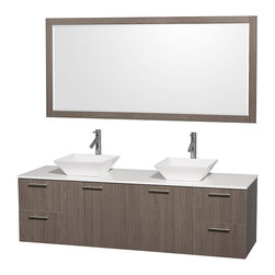 "Wyndham Collection - Amare 72"" Grey Oak Double Sink Vanity w/ White Man-Made Stone Top & 70"" Mirror - Modern clean lines and a truly elegant design aesthetic meet affordability in the Wyndham Collection Amare Vanity. Available with green glass or pure white man-made stone counters, and featuring soft close door hinges and drawer glides, you'll never hear a noisy door again! Meticulously finished with brushed Chrome hardware, the attention to detail on this elegant contemporary vanity is unrivalled."