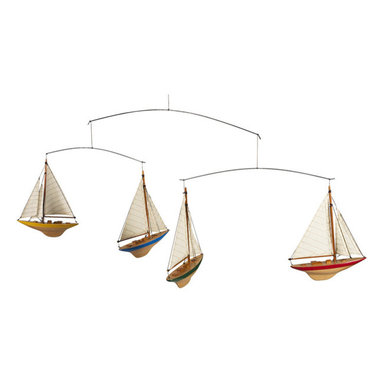 "Inviting Home - A-Cup Yachts Mobile - Four colored J-Yacht miniatures made of solid wood and cotton sails; 36-5/8""L x 1-3/8""W x 12-5/8""H; gift packaged set of four Finally! 1930s A-Cup yachts racing in the air. Four colored J-Yacht miniatures made of solid wood and cotton sails... Ever so graceful even at this size the miniatures are authentic and correct in their details."