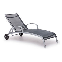 Zuo Modern - stacking lounger (silver/black) - Aluminum frame powder-coated in silver with a durable black polyester mesh fabric seat and back.  Sleek, contemporary design. UV-stabilized fabric that is safe to use near pools and or the beach. Stacks for easy storage. ��This item size is��70x25x14.