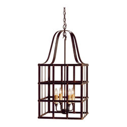 Kathy Kuo Home - Classic French Country Wrought Iron Frame Chandelier - High style and country credentials are blended in wrought iron strips to create a lantern shaped metal box chandelier with all the right rustic elements.  Perfect for industrial lofts or country homes alike.