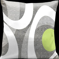 Lama Kasso - Ham and Eggs Light Grays with Pale Green Accents 18 x 18 Satin Pillow - -Satin Lama Kasso - 1441