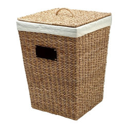 Square Sea Grass Hamper with Cotton Liner, Natural Color