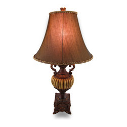 Zeckos - Antique Bronze Finish Ornate Leaf Urn Style Table Lamp w/Fabric Shade - From the ornate leaf detailing to the decorative scroll handles, this urn style table lamp will lend its baroque elegance to your room, home or office Standing at 30 inches (76 cm) high and 7 inches (189 cm) in diameter, it will beautifully illuminate your entryway, living room or office with European flair It has a lovely hand-painted antique bronze finish and is made from durable poly-stone resin, and includes a 12 inch (30 cm) high, 16 inch (41 cm) diameter bell style bronze fabric shade, and can easily be moved around with a 63 inch cord. It uses one Type A 100 watt maximum bulb (not included). It's a true statement piece sure to be admired by all