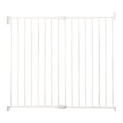 "Munchkin - Extra Tall & Wide Extending Metal Gate - The Extra Tall & Wide Extending Metal Gate adds another degree of safety with its larger size. It measures up to 56"" wide without extensions, it is perfect for blocking off stairs or rooms in your home where pets or children should not have access. Adjustable from 33"" to 56"" in width, a tall 36"" highAdult-friendly, kid-safe locking optionsRemove and store easily when not in useUnique tilted hinge is easy on wallsAesthetic no-hole designGate works in both directions Please note that this gate includes wood screws for installation into standard wood framework but other surfaces may require separate hardware ."