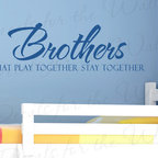 Decals for the Wall - Wall Decal Sticker Quote Vinyl Lettering Brothers Play Together Boy's Room B33 - This decal says ''Brothers that play together stay together''