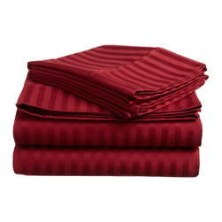 300 Thread Count Egyptian Cotton King Burgundy Stripe Sheet Set - Experience true 100% Egyptian Cotton luxury when you sleep on these 300 Thread Count sheets.  An affordable luxury that drapes beautifully on the bed. This set includes One Flat Sheet 108x102, One Fitted Sheet 78x80, and Two Pillowcases 20x40 each.