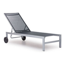 Grandin Road - Castle Peak Lounge Chair - Sleek, modern lounger, perfect on the patio or poolside. Rust-resistant aluminum frame. Durable polyester mesh seat is UV and water resistant. Adjustable seat back. Easily portable, with rear wheels and front lower bar. Sit back and take in the scenery from a classic modern lounge. Back wheels make it a cinch to move around the deck or patio. Mesh surfaces allow for airflow, and an adjustable back delivers a customized angle. Grab your sun hat and a novel, and run outside.. . . . . Arrives assembled. Clean frame with a dry cloth; seat, with a damp cloth and mild fabric cleaner . Imported.
