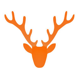 Radius Design - Trophy Coat Rack, Orange - A friendly welcome to a house, apartment, office or practice earns you bonus points. These attractive coat racks by Radius Design are eye-catching and suitable for every item of clothing. You don't need a firearms license for this trophy and stags will be glad that what is hanging on the wall is only a stylized copy.