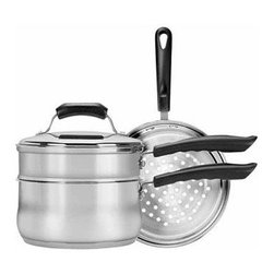 RANGE KLEEN MFG., INC. - RANGE KLEEN CW2011 Basics 3-Quart Saucepan with Double Boiler/Steamer Insert Set - � 3qt capacity;� Stainless steel;� Sauce pan;� Includes steamer, double boiler inserts & lid