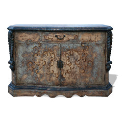 Koenig Collection - Old World Buffet Pelucci, Ocean Turquoise with Antiqued Dark Cream & Dark Brown - Old World Buffet Pelucci, Ocean Turquoise with Antiqued Dark Cream & Dark Brown