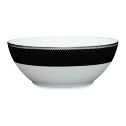 Noritake - Noritake Pearl Noir 70-Ounce Large Round Bowl - This Pearl Noir dinnerware exudes elegance with white enamel dots that act as clouds in the platinum rim, raining down tiny drops of platinum, bronze and blue over a midnight black background.