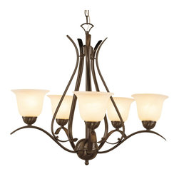 Trans Globe Lighting - Trans Globe Lighting ES Ribbon Branched Transitional Chandelier X-BOR 5829-LP - This appealing chandelier is casual yet refined. The marbleized glass shades distribute the light softly. The Trans Globe Lighting ES Ribbon Branched Transitional chandelier features an elegant Metal frame in a Brushed Nickel or rubbed oil bronze finish. The fabulous chandelier is a great d&#233:cor accent to create a sophisticated atmosphere.