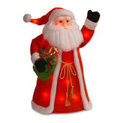 30 In. Standing Santa Holding Presents w/ 30 Red Flashing Indoor LEDs - Measures 30 inches height. Made of soft cotton material. Indoor use only. Pre-lit with flashing Multicolor LED lights. LED lights are energy-efficient and long lasting.