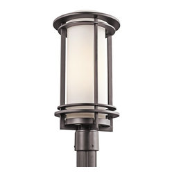 Kichler Lighting - Kichler Lighting 49349AZ Pacific Edge Modern / Contemporary Outdoor Post Lantern - From the Pacific Edge Collection, this Kichler Lighting outdoor post lantern light features subtle mission influencing and modern charm that make it an ideal addition to any contemporary outdoor lighting scheme. The frame features a rich Architectural Bronze finish that stands proudly against the clean look of the satin etched cased opal glass shade.