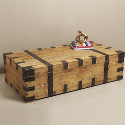 Gaston Steamer Trunk Coffee Table - Transatlantic steamships from another era are the inspiration.