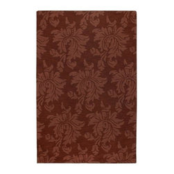 "Surya - Mystique M-205 Rug in Brick Red with Botanical Design (2' x 3') - Choose size: 2 ft. x 3 ft.. Luxurious and elegant with a sophisticated tone on tone damask inspired design, this hand crafted wool area rug will be a dynamic addition to any decor. Finished in brick red, the rug is available in your choice of sizes and will be perfect way to add color and softness to a bedroom or dining room. Hand crafted. Made in India. Unique designs. Multi-textured finish. Tone on Tone style. 100% Wool and shapes. Using centuries old technique called ""hand looming"" and through the use of finest colors, we have created these crisp, casual designs. Handcrafted in India off 100% wool, teams of craftsmen work traditional shuttle looms to create these unique designs. Each piece is then painstakingly hand-finished and hand-carved and detailed."