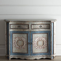 Horchow - Maydelle Blue Chest - We love everything about this chest—its shapely silhouette; the scalloped apron; ornate scroll motifs; silvery finish. In addition to eye-catching appeal, it also offers several storage options. Made of Peruvian oak and Chilean pine. Hand-painted...