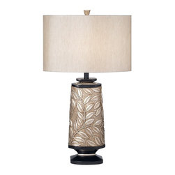 Kathy Ireland - Kathy Ireland Marrakesh Garden Table Lamp - The Kathy Ireland Marrakesh Garden table lamp comes decorated with a lovely leaf and vine pattern. Add style with this elegant table lamp from the Kathy Ireland lighting collection. The design features a leaf and vine pattern. The base comes in a softly silvered finish and has wood tone accents. Shade is in a Bavaria Grey fabric.