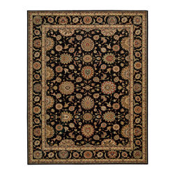 "Nourison - Nourison Living Treasures LI05 9'9"" x 13'9"" Black Area Rug 67802 - Elegantly bordered and rendered in dramatic hues of gold, taupe, rose, blue, black, olive, crimson and clementine, a traditional floral print rug is stunning in its timeless sophistication. Crafted from incredibly lush wool and specially dyed for high-intensity brilliance, this majestic rug boasts a thrilling tone and transfixing texture."