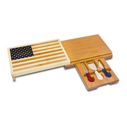 """Picnic Time - Old Glory Cutting Board And Tools Set - Old Glory will create a lasting impression at your next get together. It's a fun conversation piece for patriotic parties and get-togethers. Made of solid, eco-friendly bamboo, its innovative design features a concealed cutting board to keep the face of the flag free from unsightly cheese cutting marks. It's the perfect gift for those who have a passion for the Red, White, and Blue. Includes: 1-10.5"""" x 7.25"""" bamboo cutting board with juice groove to catch juice run-off, cheese whey, and brine; 3 stainless steel cheese tools with painted handles: 1 crumbly cheese chisel knife, 1pointed-tip Hard cheese knife; 1cheese fork"""