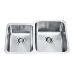 Vigo Industries - 80/20 Double Bowl D-Shaped Stainless Steel Undermount Kitchen Sink - 15 degree radius corners, satin finish and seamless construction make this stylish 18 gauge stainless steel sink the perfect addition to your kitchen decor.