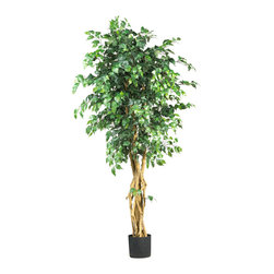 Nearly Natural - 6' Palace Style Ficus Silk Tree - Larger and more substantial than an ordinary ficus tree, the Palace Style Ficus Tree commands real attention. Standing six feet tall and with thousands of large luxuriant leaves on several strong, twisting trunks; this tree makes a dramatic design statement in any home or office.