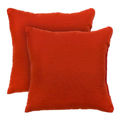 None - 17-inch Outdoor Salsa Square Accent Pillow (Set of 2) - Add a touch of contemporary style and comfort to your outdoor furnishings with these accent pillows. These pillows are overstuffed with a soft 100-percent polyester fill and have a durable weather resistant and UV protected cover.