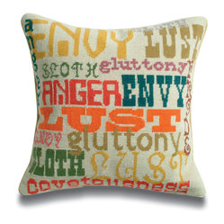 Sins Needlepoint Throw Pillow
