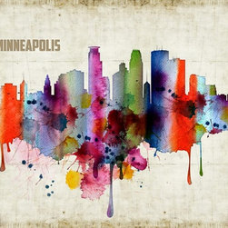 Artollo - Minneapolis Watercolor Print A3 - 16.5 x 11.7 - 16.5 x 11.7 - Giclee watercolor art print from hand drawn original, frame not included. Originally signed and stamped