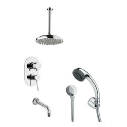 Remer - Chrome Tub and Shower Faucet with Multi Function Hand Shower - Multi function tub and shower faucet.