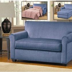 Chelsea Home Layla Sleeper Loveseat - Viva Blueberry - We're pretty sure the Chelsea Home Layla Sleeper Loveseat - Viva Blueberry will nicely complement any style of decor. The super convenient and clever design goes from cute, traditional loveseat to ultra comfy sleeper in minutes. Perfect for small spaces.About Chelsea Home FurnitureProviding home elegance in upholstery products such as recliners, stationary upholstery, leather, and accent furniture including chairs, chaises, and benches is the most important part of Chelsea Home Furniture's operations. Bringing high quality, classic and traditional designs that remain fresh for generations to customers' homes is no burden, but a love for hospitality and home beauty. The majority of Chelsea Home Furniture's products are made in the USA, while all are sought after throughout the industry and will remain a staple in home furnishings.