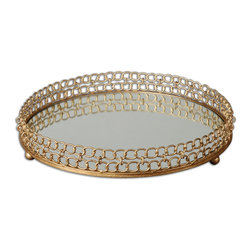 Uttermost - Dipali Mirrored Tray - You can use this mirrored tray in a lot of rooms in your home. On your bedroom dresser, it can hold perfume bottles and your jewelry. On your sideboard, it becomes an impromptu bar with wineglasses and wine. On your coffee table, group a few pillar candles to reflect their cheery light.