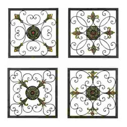 "UMA - 16"" Glanum Iron Square Wall Plaques Set of 4 - Four grids - each similar, yet distinct - of elegant wrought iron can be arranged symmetrically or casually"